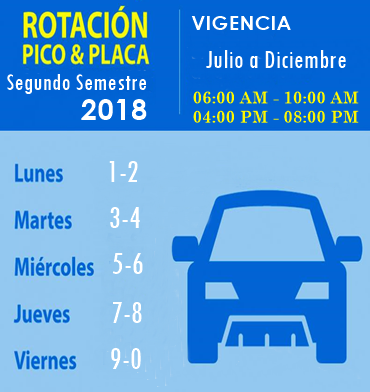 Pico Placa 2018 Segundo Semestre